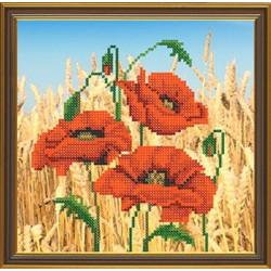 Маки в поле, ткань с рисунком для вышивания бисером 18х18см