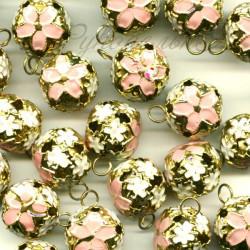 Розовый, бубенчики резные 12 мм 10 шт Zlatka
