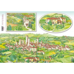 Бумага рисовая для декупажа Stamperia Тосканская деревня, 1 лист 48х33 см 28г/м