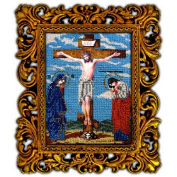Распятие Христа, набор для вышивания бисером 18х24см, Вышиваем бисером