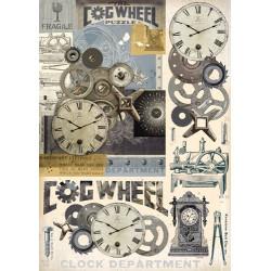 Карта для декупажа Часовые механизмы, 1 лист, 50х70 см, 80 гр.