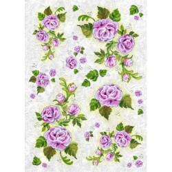 Сиреневые розы, бумага рисовая для декупажа, 32х45 см. Love2Art