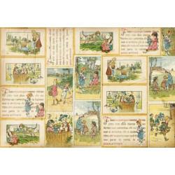 Бумага рисовая для декупажа Stamperia Иллюстрации из старой книжки, 1 лист, 50х70 см. 28г/м