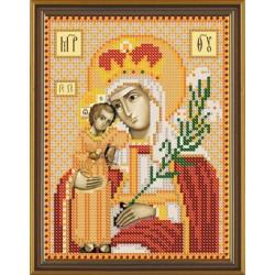 Богородица Неувядаемый Цвет, ткань с рисунком для вышивания бисером 13х17см