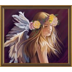 Влюбленный ангел, ткань с рисунком для вышивания бисером формат А3