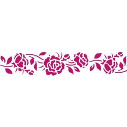 Розы лента, трафарет пластиковый 60х7 см Stamperia