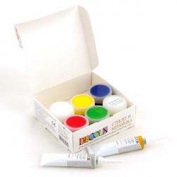 Набор красок по стеклу и керамике акриловых 5х20мл+2контура 18мл+разбавитель Decola