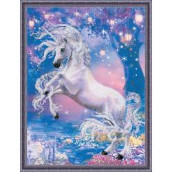 Единорог, набор для вышивания крестиком, 30х40см, 16цветов, частичная Риолис