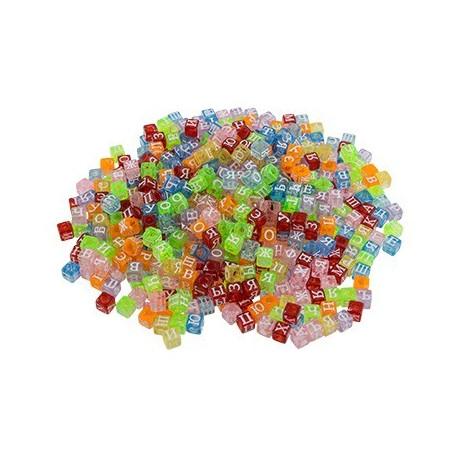 Алфавитный коктейль цветной, бусины пластик 6 мм, 100гр, Zlatka