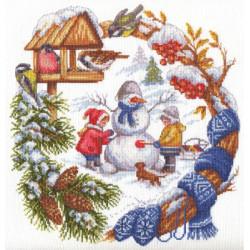 Зимние забавы, набор для вышивания крестиком, 24х26см, 27цветов Panna