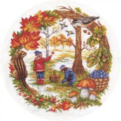 Осенние хлопоты, набор для вышивания крестиком, 24х26см, 27цветов Panna