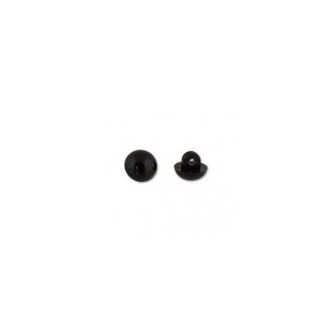 Черный, глаза пластиковые, пришивные 4мм 1шт. HobbyBe