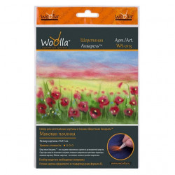 Маковая полянка, набор для иготовления картины из шерсти 21x15см. Woolla