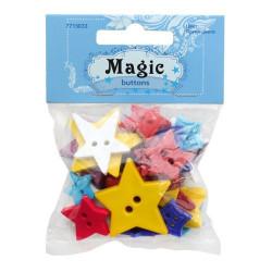 Звезды, набор пластиковых пуговиц, 30г/уп