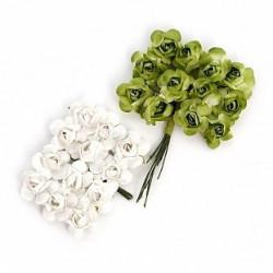Цветы бумажные бело-зелёные 24шт. MAGIC HOBBY