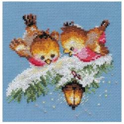 На огонек, набор для вышивания крестиком, 14х13см, 15цветов Алиса