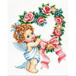 С Днем всех влюбленных!,  набор для вышивания крестом 16х21см мулине хлопок 18цв. канва Aida№14 ЧИ