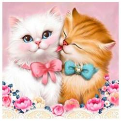 Кот и кошка, набор для изготовления картины стразами 25х25см 22цв. полная выкладка, АЖ
