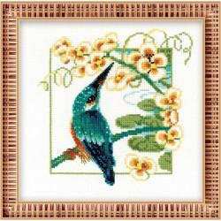 Зимородок, набор для вышивания крестиком, 25х25см, мулине хлопок Anchor 16цветов Риолис