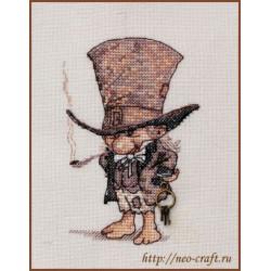 Джентльмен в шляпе, набор для вышивания крестом 9х13см мулине Finca 14цв. канва Linda 27ct Neocraft