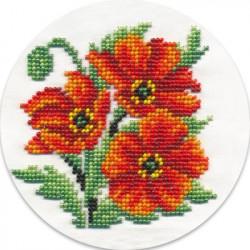 Алые маки, набор для вышивания бисером, 13х13см, 10цветов Кларт