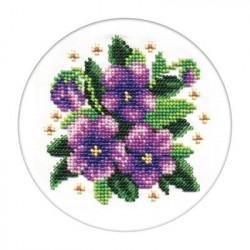 Фиалки, набор для вышивания бисером, 13х13см, 13цветов Кларт
