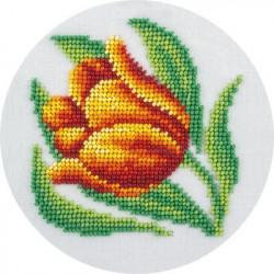 Тюльпан, набор для вышивания бисером, 12х12см, 9цветов Кларт