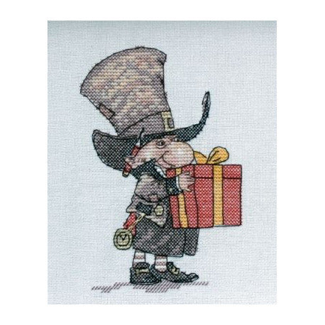 Джентльмен с подарком, набор для вышивания крестом 9х14см мулине Finca 15цв. канва Linda 27ct