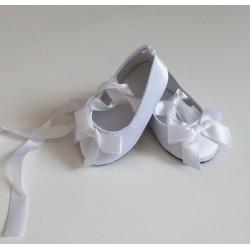 Балетки белые атласные, длина стопы 7,5см. Кукольная обувь