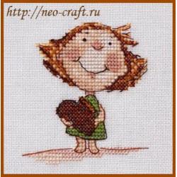 Пряничное сердце, набор для вышивания крестом 8х8см мулине Finca 14цв. канва Linda 27ct Neocraft