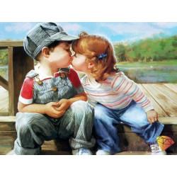 Поцелуй, набор для изготовления картины стразами 40х30см 33цв. полная выкладка АЖ