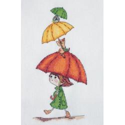 Веселые зонтики, набор для вышивания крестом 11х24см мулине Finca 15цв. канва Linda 27ct Neocraft