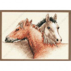 Лошадиная дружба, набор для вышивания крестиком, 18х13см, Dimensions