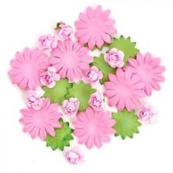 Цветы бумажные розово-зелёные 30шт. MAGIC HOBBY