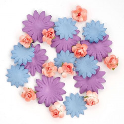 Цветы бумажные кораллово-сиренево-фиолетовые 30шт. MAGIC HOBBY
