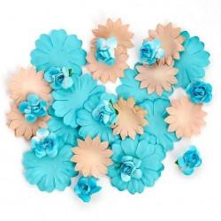 Цветы бумажные бирюзовые 30шт. MAGIC HOBBY