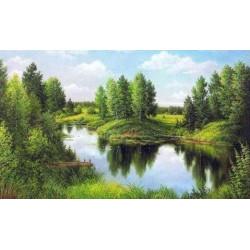 Тихая река, набор для изготовления картины стразами 50х30см 20цв. полная выкладка, АЖ
