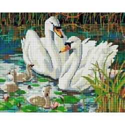 Семья лебедей, набор для изготовления картины стразами 50х40см 30цв. полная выкладка, Белоснежка