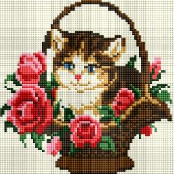 Котёнок в корзинке, набор для изготовления картины стразами 20х20см 11цв. полная выкладка Белоснежка
