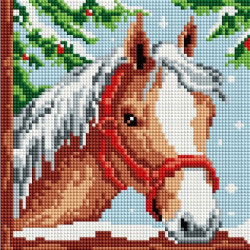 Белогривая лошадка, набор для изготовления картины стразами 20х20см 13цв. полная выкладка Белоснежка