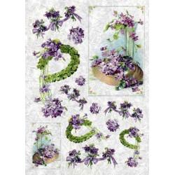 Сиреневые цветы, бумага рисовая для декупажа, 32х45 см. Love2Art