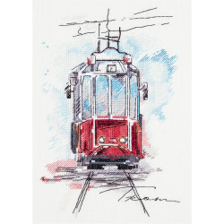 Городской трамвай, набор для вышивания крестиком, 17х25см, 20цветов Panna