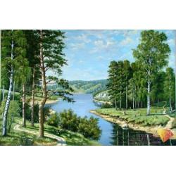 Российский пейзаж, набор для изготовления картины стразами 50х33см 28цв. полная выкладка, АЖ