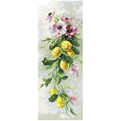 Лимонный вальс, канва с рисунком для вышивки нитками 40х90см. Матрёнин посад