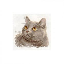 Британский кот, набор для вышивания крестиком, 12х11см, 13цветов Алиса