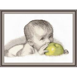Малыш с яблоком, набор для вышивания крестиком, 30х20см, мулине хлопок 11цветов Овен