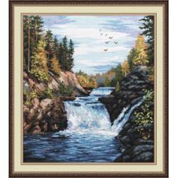 Водопад Кивач, набор для вышивания крестиком, 29х35см, мулине хлопок 30цветов Овен