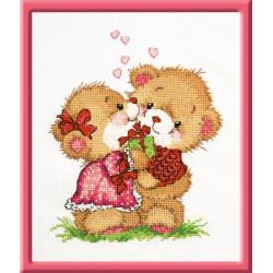 Счастливы вместе, набор для вышивания крестиком, 16х20см, мулине хлопок 14цветов Овен