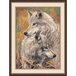 Волчья верность, набор для вышивания крестиком, 30х40см, мулине хлопок 20цветов Овен