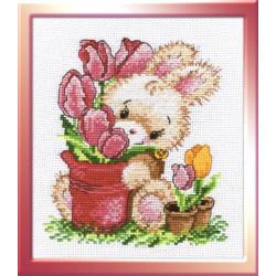 Зайчик-тюльпанчик, набор для вышивания крестиком, 13х16см, мулине хлопок 15цветов Овен